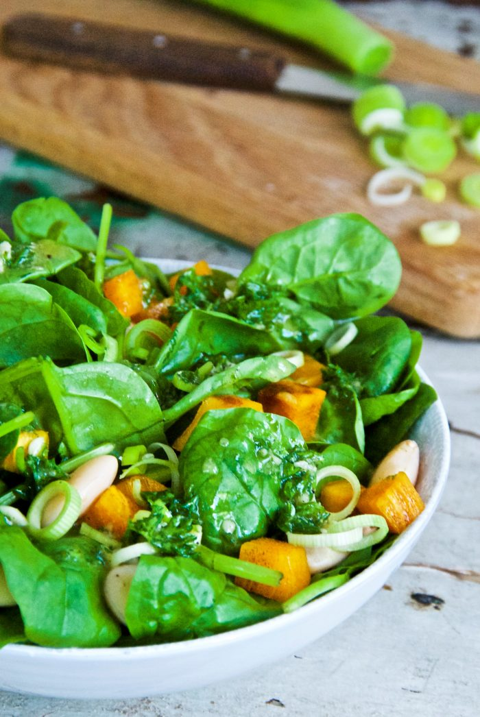 Spinach and Persimmon Salad with Mustard Dressing