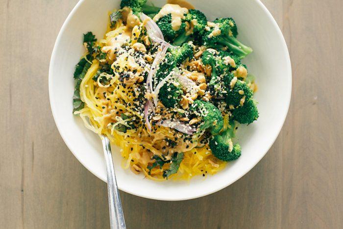 Spaghetti Squash Noodles Lime Peanut Sauce Vegetarian